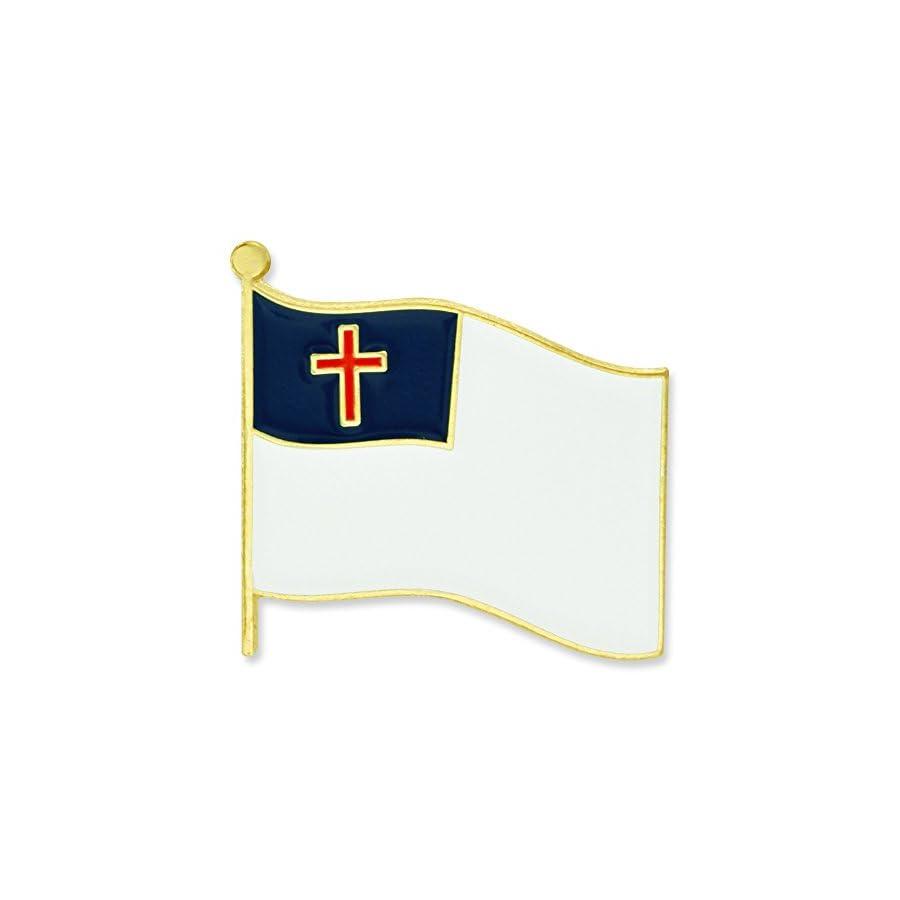 PinMart Christian Flag Religious Enamel Lapel Pin