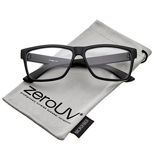 zeroUV - Classic Horn Rimmed Wide Arms Clear Lens Rectangle Eyeglasses 57mm (Matte Black / - Glasses Black Rectangle