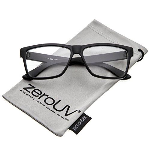 zeroUV - Classic Horn Rimmed Wide Arms Clear Lens Rectangle Eyeglasses 57mm (Matte Black / - Glasses Wide Rimmed