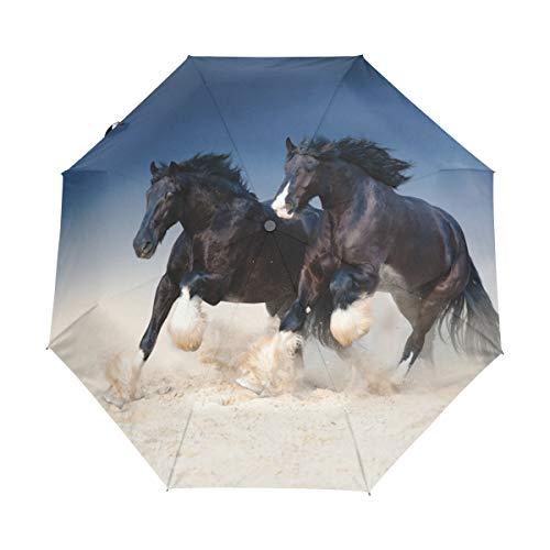 Running Black Horse Couple Auto Open Close Handle Umbrella Cute Woodproof Compact Rain Umbrella by THENAGD