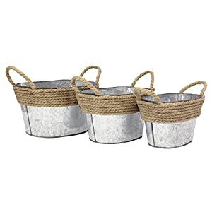 Galvanized Metal Oval Basket Set with Wrapped Rope Trim and Rope Handles, Farmhouse Home Decor
