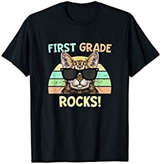 First Grade Rocks Cat  Funny Back to School 1st grader. T-shirt | Size S - 5XL
