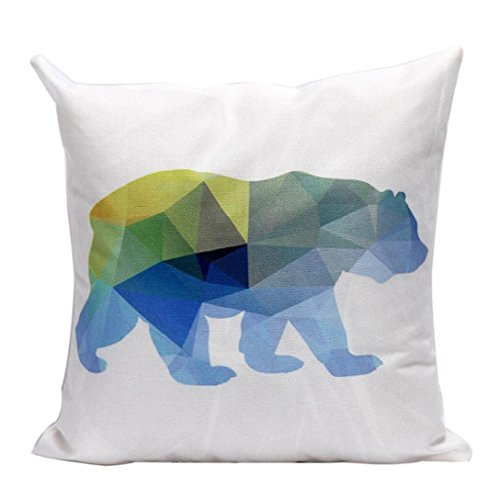 Young Pillow Simple Bear Pattern Pillowcase,Highpot Christmas Stylish Minimalist Style Logo Square Cushion Cover (E1)