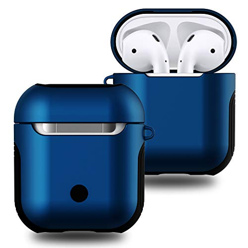 Airpods Case Cover,Angimi Air Pods Case and Skin with Lanyard, Airpod Skins is with Soft Silicone and Hard Case Double Shockproof Design - for Apple Airpods Accessories (Blue)
