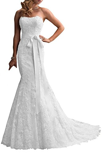 Trumpet/Mermaid Strapless Chapel Train Lace Wedding Dress (White) - 7