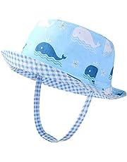 VBIGER Baby Sonnenhut Sonnenschutz Cap Baumwolle weicher Mütze Strandhut Kinder Sommerhut Netter Wal Wendehut für 1-6 Jahre Alt Jungen und Mädchen, Blau-weiß, 54cm (4-6 Jahre)
