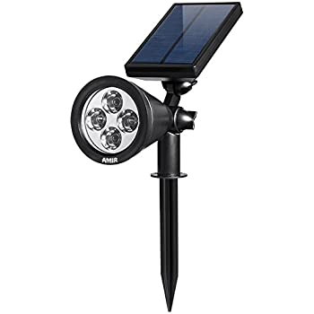 AMIR 2 in 1 Solar Spotlights, Upgraded Solar Garden Light Outdoor, Waterproof 4 LED Landscape Lighting, Adjustable Solar Wall Lights with Auto On/ Off for Yard Driveway Pathway Pool Tree Patio (White)