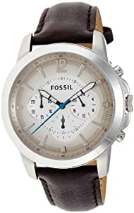 Fossil men 39 s fs4533 brown leather strap grey gradient analog dial chronograph watch for Gradient dial watch
