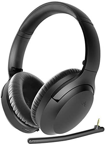 Avantree Aria Bluetooth 5.0 Noise Cancelling Headphones Headset for Music & Calls, Dual Microphone, Boom Mic & Built-in Mic, Comfortable 35H, Over Ear Wireless & Wired for Phone PC Computer Laptop