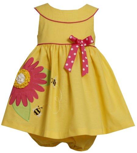 Bonnie Jean Baby/NEWBORN 3M-9M 2-Piece YELLOW PINK YOKE NECKLINE SUNFLOWER BUMBLE BEE APPLIQUE Spring Summer Party Dress