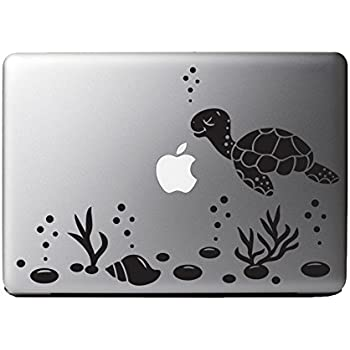 Cute sea turtle ocean scene vinyl decal sticker for 13 macbook laptop computer