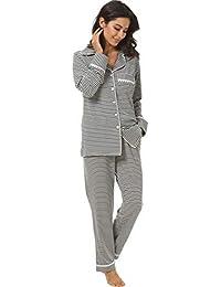 Womens 2 Piece Classic Cotton Long Sleeve Button-Down Soft Pajama Set