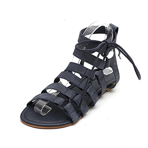 Taille Tête Sandales Sandales Blue Femmes Plate Les Romaine Nouvelle Ronde la Chaussures de xie Sandales Confortable de Taille Confortable Grande 8f5xxOAq