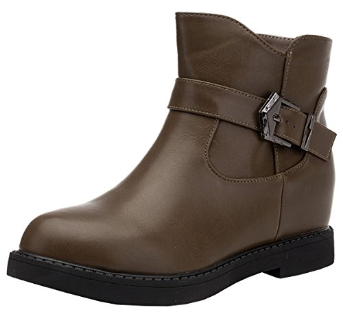 Short PU Leather Martin Boots (Coffee) - 2