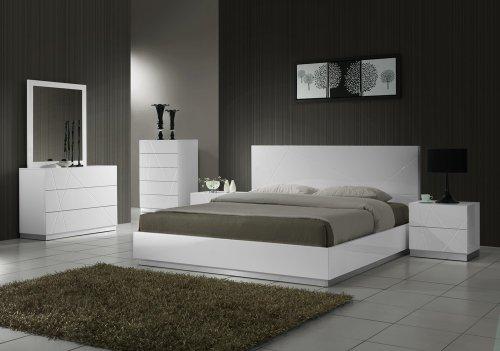 J&M Furniture Naples Modern White Lacquered Bedroom set- King (Lacquered Bedroom Furniture)