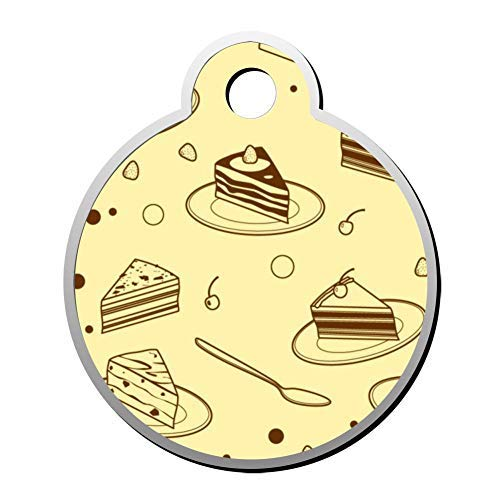 Cheese Cake Pet Id Tags Personalised Stainless Steel Double Sided for Dogs Cats Funny Idea]()