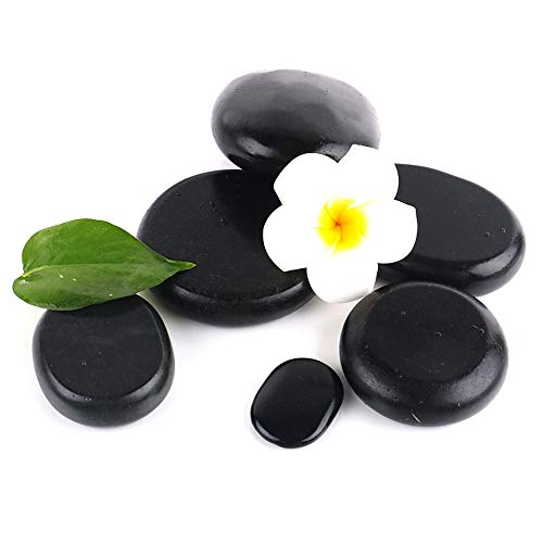 LANGYINH SPA Hot Rocks - Professional Relaxing Hot Stones Massage Tool - Natural Basalt Stones Fit for Therapy,SPA Treatment,6Pcs2.36x3.14Inch