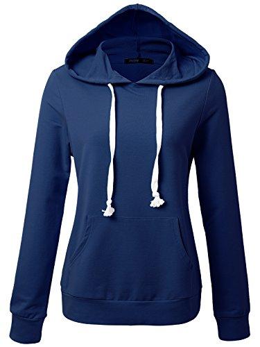 JayJay Women Long Sleeve Lightweight Casual Pullover Hoodie Sweatshirts With Kangaroo Pocket,SAILORBLUE,L