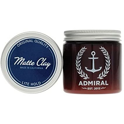 Admiral Men's Pliable Hair Styling Clay (Lite Hold/No Shine) 4oz - Tobacco Scented - Professional Grade Formula for Straight, Thick or Curly Hair Admiral Men' s Grooming