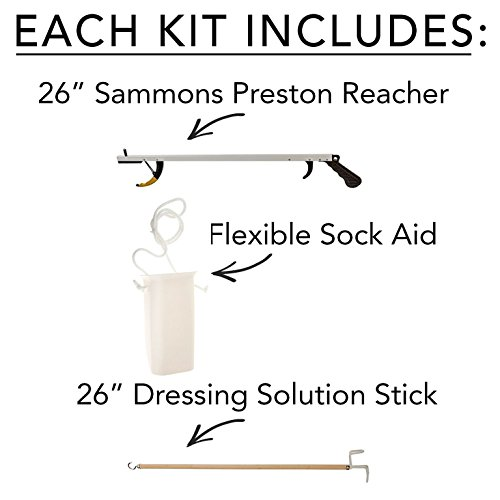 Sammons Preston 49853 Assistive Device Kit 5, Includes 26″ SPR Reacher, Wide Sock Aid & 26″ Dressing Stick, Adaptive Dressing & Independent Daily Living Aid for Those with Limited Reaching Ability 41kg 2BLNpXBL