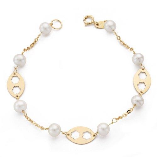 Bracelet en or 18 kt fleurs jaunes et perles