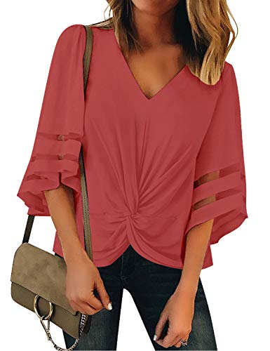 GRAPENT Women's Tea Rose Casual 3/4 Bell Sleeve Blouse V Neck Twist Front Mesh Panel Loose Top Shirt Size Large US 12-14