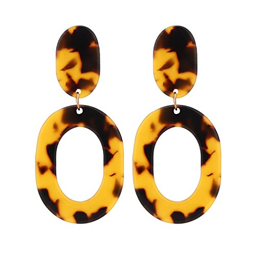LEGITTA Tortoise Shell Resin Hoop Earrings Acrylic Oval Dangle Ear Drops Fashion Statement Jewelry amber for Women L109T