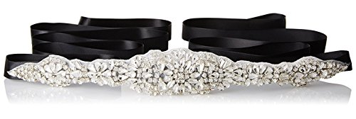 - E-Clover Bridal Crystal Rhinestone Wedding Dress Sash Belt With Ribbon (Black)