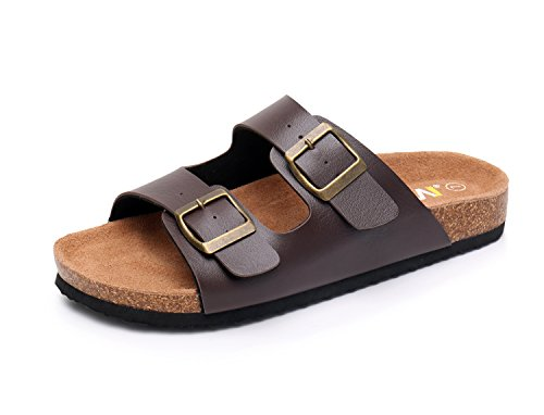 (Slip on Flat Cork Sandals for Men with Adjustable Strap Buckle Open Toe Slippers Suede Sole (US 10, Brown))