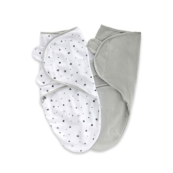 Adjustable Swaddle Blanket Infant Baby Wrap 2 Pack Grey Stars + Solid Grey 0-3 Months