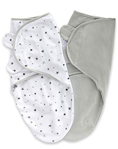 Elys & Co. Adjustable Swaddle Blanket Infant Baby Wrap 2 Pack Grey Stars + Solid Grey 0-3 Months