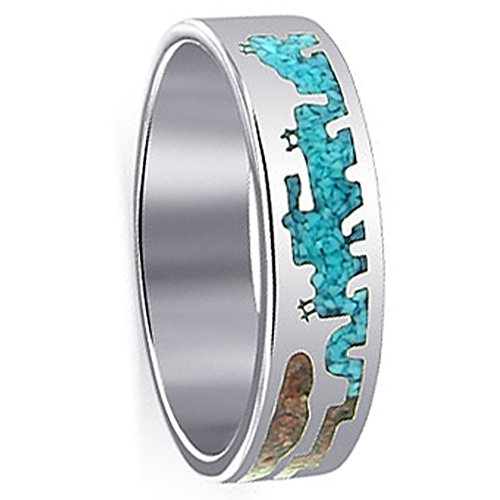 Turquoise Gemstone Inlay Band (Gem Avenue Men's 925 Sterling Silver Turquoise and Coral Gemstone Inlay Southwestern Style Band)