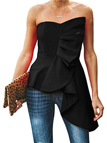 (Bigyonger Womens Ruffle Tube Tops Asymmetrical Hem Strapless Statement Tunic Shirt Black)