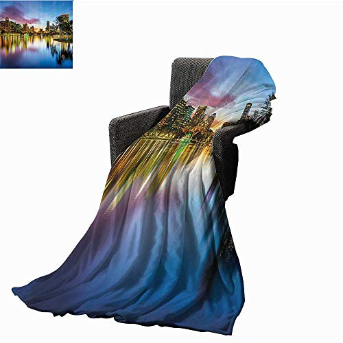 anlulu Wide Tap Decorative Throw Blanket Famous USA Urban Downtown View of Orlando Florida from EOLA Lake Romantic Scene All Season Light Weight Living Room 60