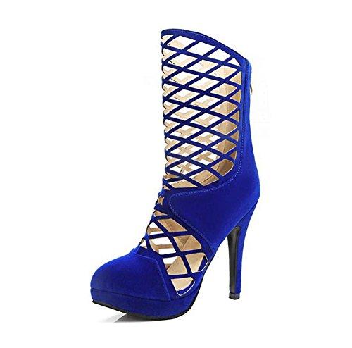 de tacón del 2017 Blue Botas mujeres Botas partido Zapatos Botas Martin huecas las de verano alto cómodo Mujeres de zwYBIq44