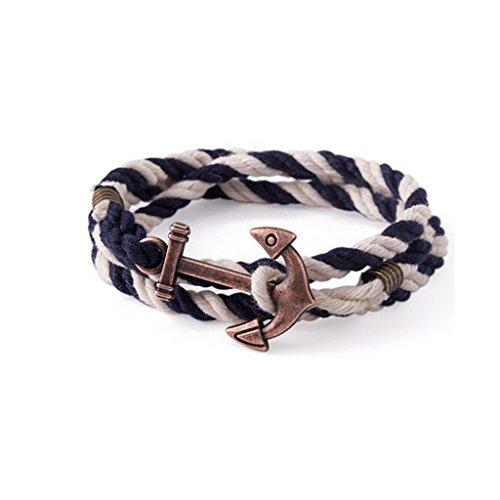 Bronzed Cuff - Hurricanes European Retro Vintage Cotton Cuff Bracelete With Bronzed Anchor Decoration (Blue) - Medium 54cm