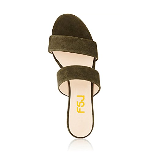 Fsj Femmes Double Bretelles Slip Sur Mules Sandales À Talons Bas Ouvert Toe Slide Chaussures Plates Taille 4-15 Nous Olive