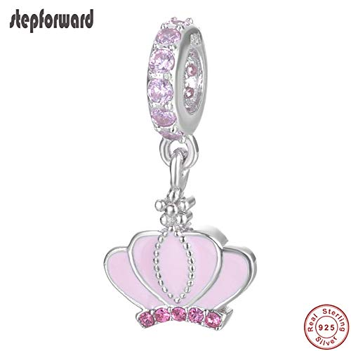 Calvas Noble Pink Enamel Nice Crown DIY Charm 925 Sterling Silver Crown Hanging Charm for Bracelets and Necklace