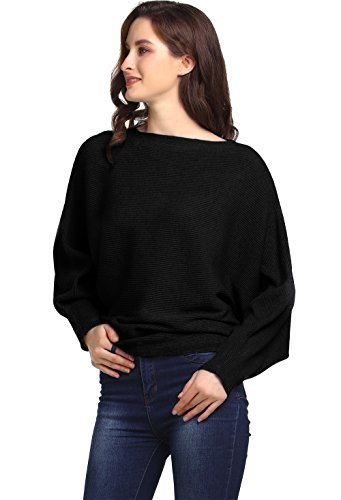 Amoretu Women's Boat Neck Long Batwing Sleeve Pullover Sweaters Ribbed Knitted Black