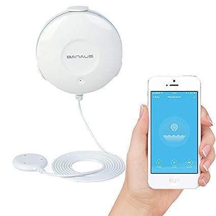 BANAUS FD10W Alarme Intelligente de Fuite d'eau, Notifications Push sur Les Smartphones, Aucun concentrateur oné reux requis, Fonctionnement sur Batterie, Aucun câ blage requis, Simple Plug & Play Aucun concentrateur onéreux requis