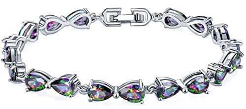- Silver Elegant Mystic fire Topaz Teardrop Women Bracelet 7 inches