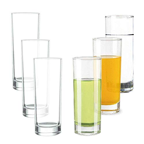 Lhx Transparent Base High Pole Bar Glass, Drinking Glasses Straight Cup Water, Juice, Beer Cocktail 9.8 oz,6.5 inches Tall (Set of 6) ()