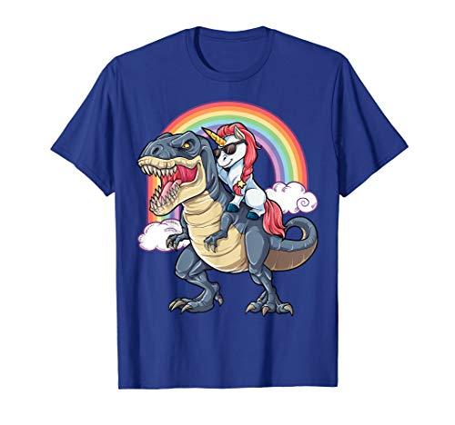 Unicorn Riding T rex Shirt Dinosaur Boys Girls Kids Gift ()
