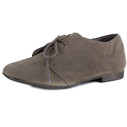 Breckelle's SANDY-31 Basic Classic Lace Up Flat Oxford Shoe,7 B(M) US,Premium Taupe,7 B(M) US