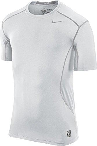 New Nike Men's Pro Combat Core 2.0 Fitted SS T-Shirt White/White/Cool Grey X-Large