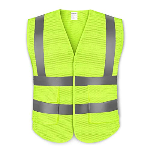 SPACECARE High Visibility Reflective Safety Vest with Velcro and 1 Pocket, Mesh Fabric, Large,Yellow (Mesh Ben Vest)