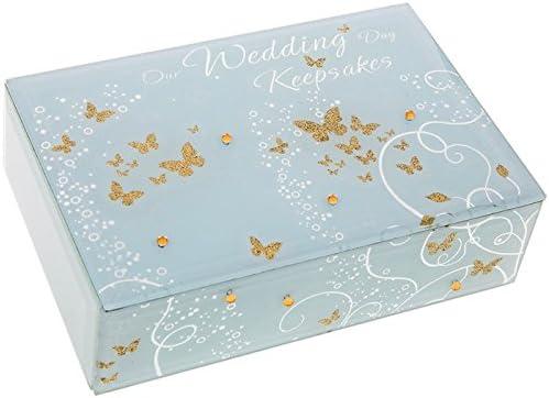 Caja de recuerdos de la boda de la mariposa de oro: Amazon.es: Hogar