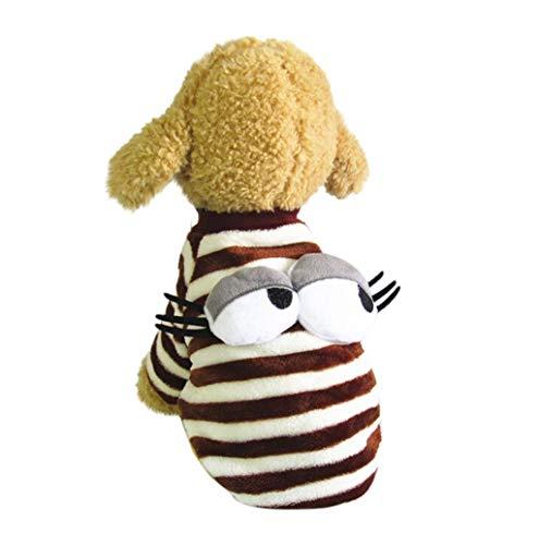 Pet Sweater,JHKUNO Pet Fleece Eye Embellishment Sweater Puppy Winter Clothes Cotton Snowsuit Coat Villus Warm Clothes - Embellishments Gingerbread