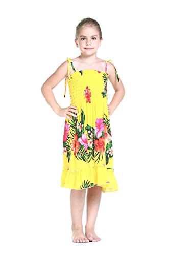 Girl Yellow Floral Hawaiian Luau Dress in Various Styles