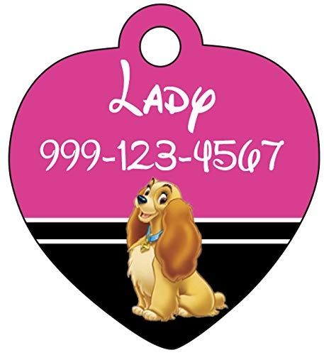 Disney Lady & The Tramp Custom Pet Id Tag for Dogs & Cats Personalized w/Name & Number